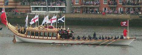 Gloriana at Queen Elizabeth's Jubilee Regata on the River Thames, 2012