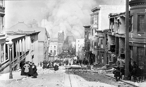 Sacramento Street in San Francisco on April 18, 1906 (Maya date One Kib') just after the earthquake, on the first day of the fire, by local photographer Arnold Genthe