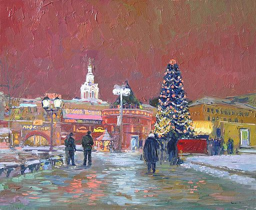 New Year's Eve in Moscow painting