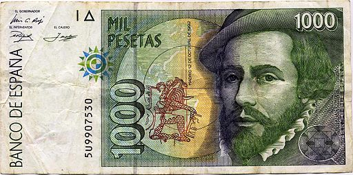 1000 peseta note, with image of the conqueror Hernan Cortes. Note dated Oct. 12, 1992 (Maya date 13 Chikchan - the last day of the B'en trecena). Photo by By HombreDHojalata (Own work) [CC-BY-SA-3.0-es (http://creativecommons.org/licenses/by-sa/3.0/es/deed.en)], via Wikimedia Commons