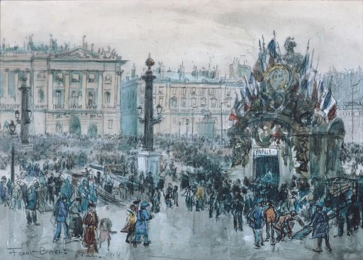 Armistice Day, Paris, 1918 (Maya Date: 2 Kimi). Watercolour and chalk  by Frank Boggs (1855-1926). Location: Metropolitan Museum of Art, via Wikimedia Commons