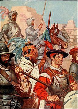 Conquistadores entering Tenochtitlan [By Margaret Duncan Coxhead (Romance of History, Mexico), Public domain, via Wikimedia Commons]