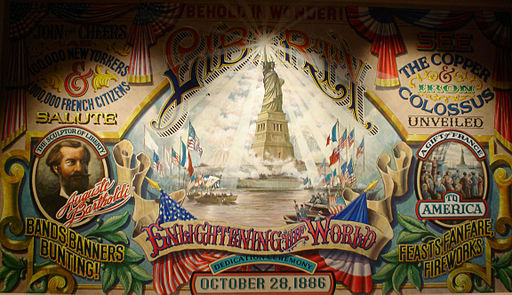 Auguste Bartholdi, Liberty-Enlightening-the-World. Dedication banner October 28, 1886 (One Chikchan)   [Photo Credit: Jdontfight (Own work), CC0, via Wikimedia Commons]