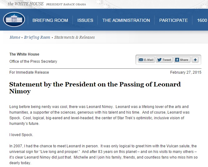 Obama message re Leonard Nimoy