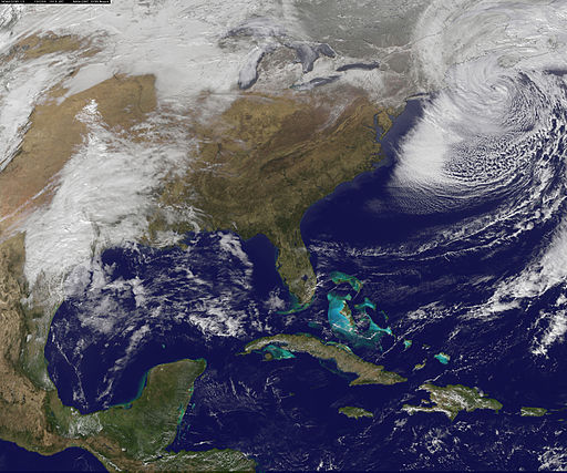 In early February 2013 [during the Ik' (WInd) trecena], a potent storm with hurricane-force wind gusts pounded the northeastern United States for the second time in four months. Snowfall was reported in fourteen states from Wisconsin to the Atlantic Coast, from North Carolina to Maine, with the most prodigious totals in the New England coastal states. Photo Credit: By NASA Earth Observatory [Public domain], via Wikimedia Commons