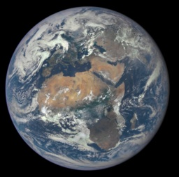 One of the first photos taken by NASA's Earth Polychromatic Imaging Camera on the Deep Space Climate Observatory (DSCOVR) satellite. This image was released in 2015 during this trecena. Photo credit: NASA [Public domain], via Wikimedia Commons