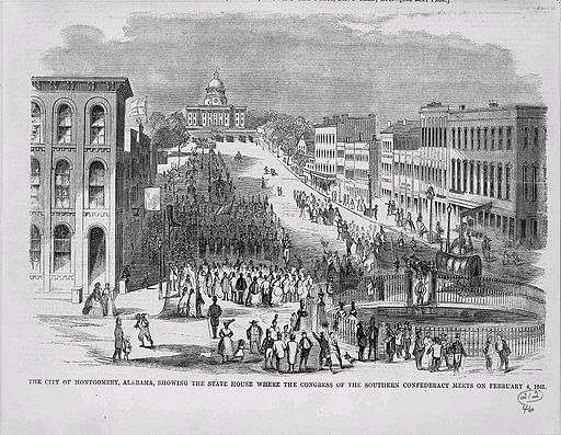 The city of Montgomery, Alabama, showing the state house where the congress of the Southern Confederacy met on February 4, 1861 (3 Lamat). Photo Credit: Harper's Weekly (Library of Congress Prints & Photos Online Catalog) [Public domain], via Wikimedia Commons