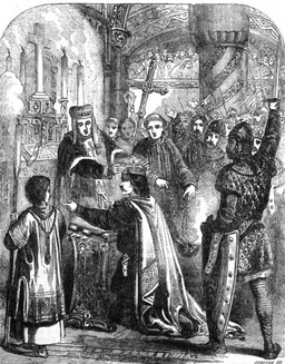 The coronation of WIlliam the Conqueror in Westminster Abbey on Christmas Day, 1066. By John Cassell (Internet Archive) [Public domain], via Wikimedia Commons