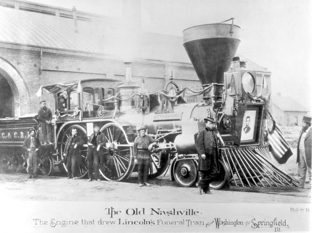 "The ""Old Nashville"", the locomotive that pulled the funeral train of President Abraham Lincoln from Washington, D.C. to Springfield, Illinois during this trecena in 1865. Public Domain via Wikimedia Commons"