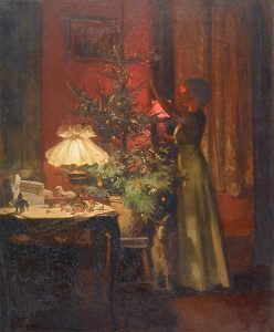 Young woman decorating a 19th century Christmas tree. Painting by Marcel Rieder (1862-1942) (Collection privée Photographie by P.F. Rieder) [Public domain], via Wikimedia Commons. This Christmas day marks the 175th anniversary of the first widespread use of Christmas trees.