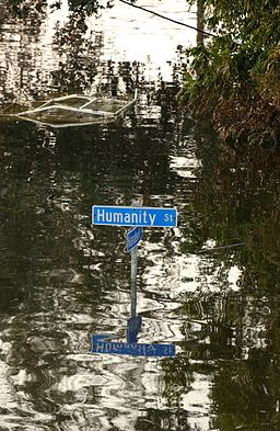 """Humanity St."" street sign in New Orleans in 2005 during the flood. Photo Credit: Jocelyn Augustino (Image from the FEMA Photo Library.) Public domain, via Wikimedia Commons"