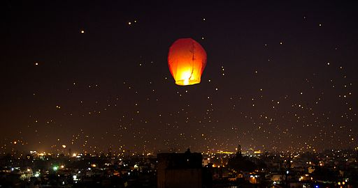 Kites and sky lanterns mark the Makar Sakranti festival in India (aka Uttarayana) on Jan. 14th, designating the transition of the sun into the zodiac sign of Capricorn. Photo Credit: Bhavishya Goel from Gothenburg, Sweden (Uttarayan (Explored) in 2015 [CC BY 2.0], via Wikimedia Commons