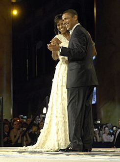 President Barack Obama and first lady Michelle Obama dancing during the Commander in Chief's Ball in January 2009. U.S. Air Force photo by Senior Airman Kathrine McDowell. Public Domain via Wikimedia Commons. President Obama's farewell address to the nation will take place on 3 Imix during this current trecena. They will both be greatly missed.
