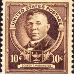 Booker T. Washington postage stamp, 1940. Public Domain via Wikimedia Commons