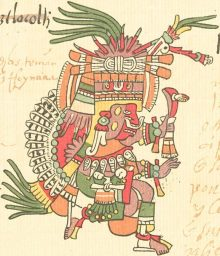 Patecatl, the Aztec god of the intoxicating Pulque, is a principal patron of this trecena. Image from the 16th century Codex Telleriano-Remensis, Public Domain via WIkimedia Commons