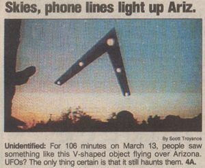 Phoenix Lights newspaper article from USA Today, via Wikimedia Commons.